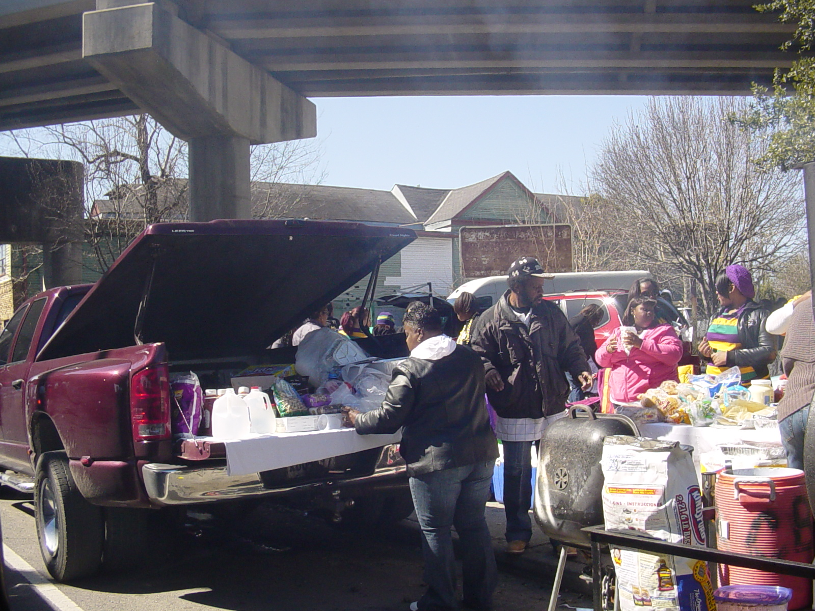 BBQing and other social activities under the Claiborne overpass