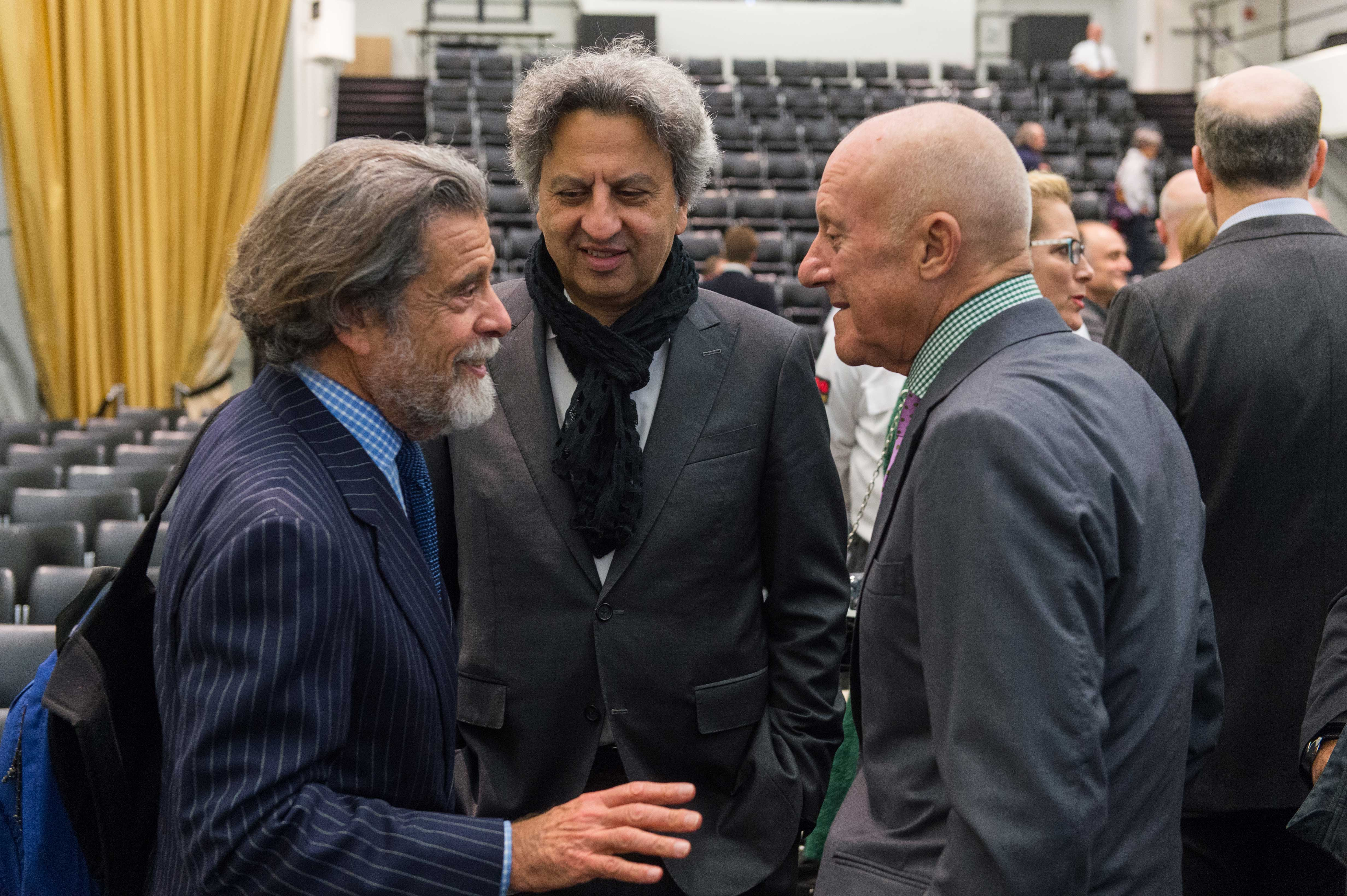 Ronald M. Druker, president of the Druker Company, with GSD Dean Mohsen Mostafavi with Architect Norman Foster.