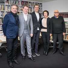 "From left: Dean Mohsen Mostafavi, Mahdi Amjad, Patrik Schumacher, Xin Zhang, and Elia Zenghelis at ""Zaha Hadid: A Celebration."" Photo credit: Zara Tzanev."