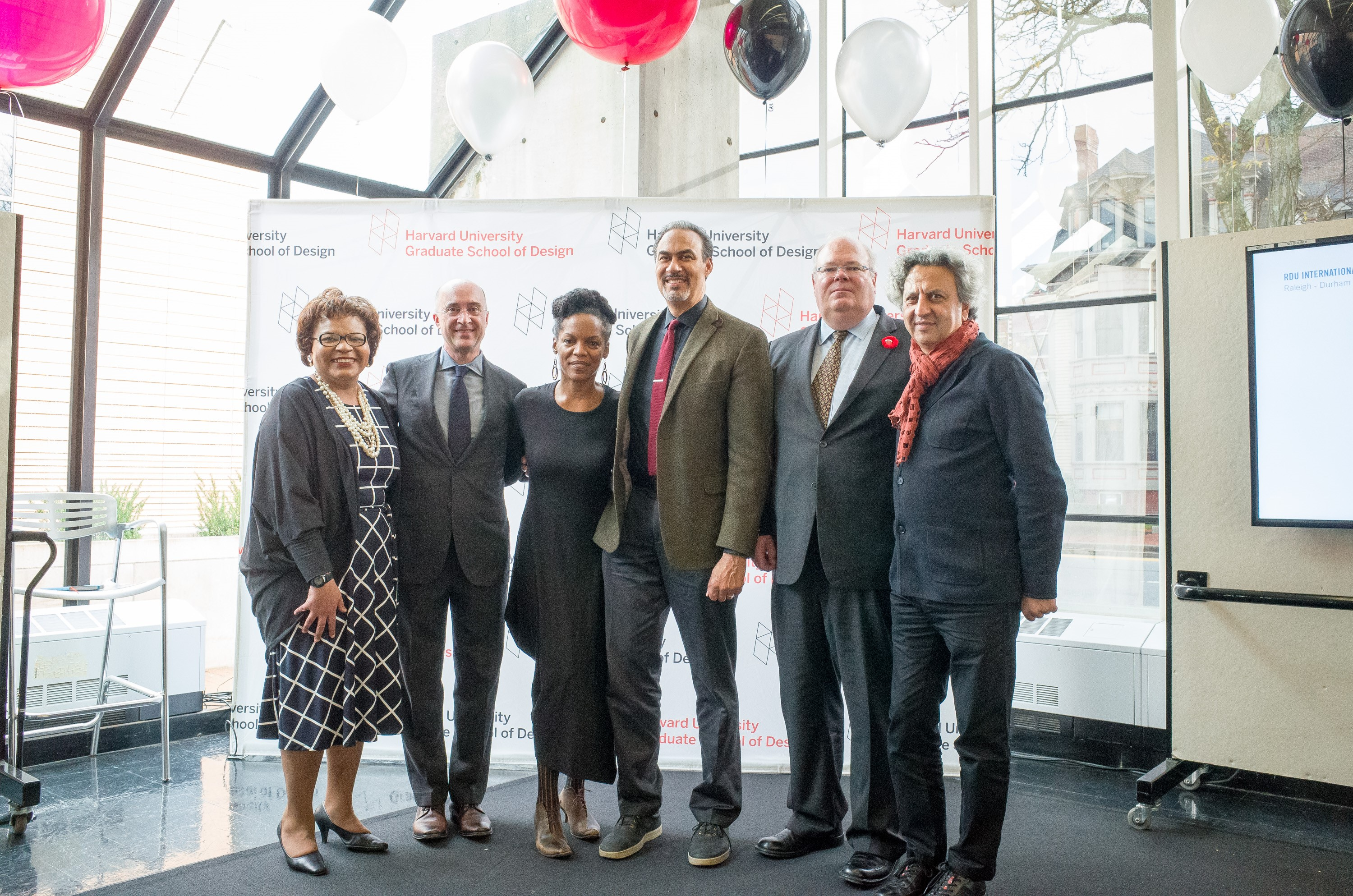 From left: Lorraine Smith; Phil Harrison, AB '86, MArch '93, Perkins+Will Chief Executive Officer and Co-Chair of the GSD's Grounded Visionaries campaign; Nnenna Freelon; Phil Freelon, Managing and Design Director at Perkins+Will; John K. F. Irving AB '83, MBA '89, Co-Chair of the GSD's Grounded Visionaries campaign; and Mohsen Mostafavi, Dean and Alexander and Victoria Wiley Professor of Design.