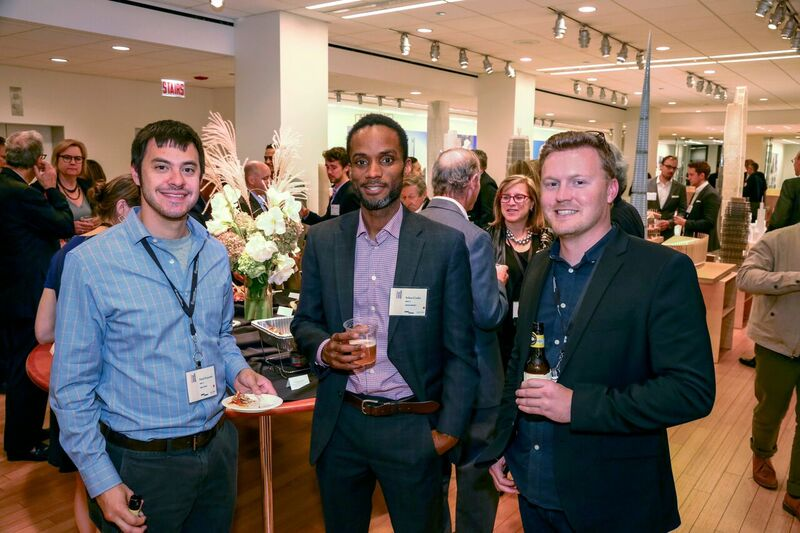 Mark Pomarico MArch '13, Sekou Cooke  MArch '14, and Christopher T. Karlson  MArch '08 at the SOM reception during  Harvard Design: Chicago