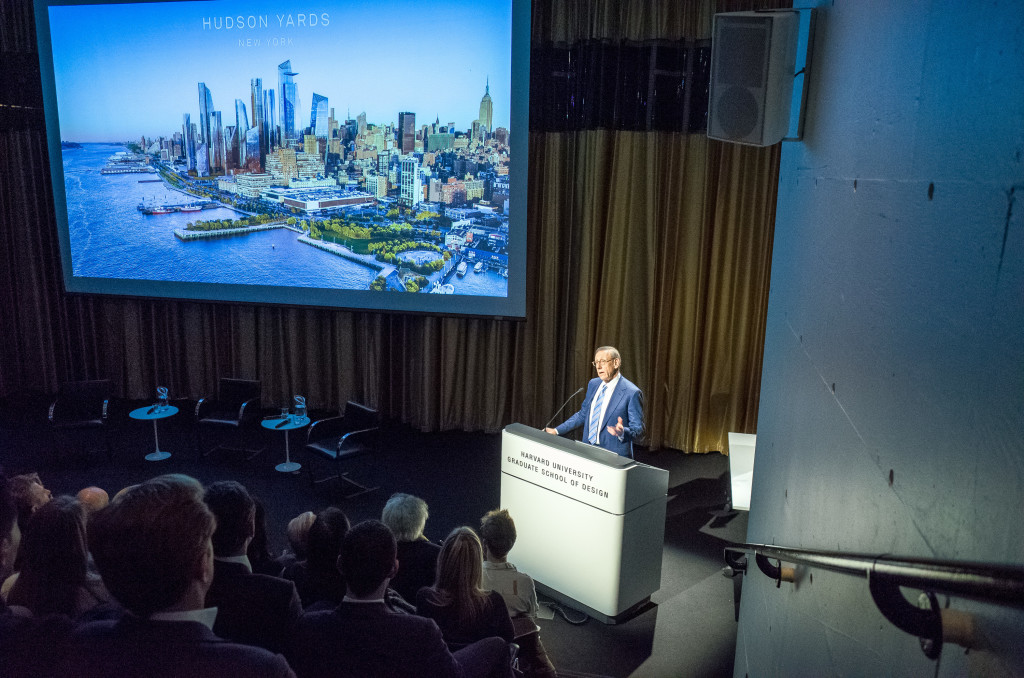 Nov. 2, 2016 -- Stephen Ross, chairman of Related Companies, speaks about the Hudson Yards development project in Piper Auditorium, Gund Hall, 48 Quincy Street, Cambridge, on Wednesday, November 2, 2016. The renewal of the Hudson Yards district, a project jointly planned, funded, and constructed by the New York City and State governments and the Metropolitan Transportation Authority, concerns a section of Manhattan between Penn Station and the Hudson River.