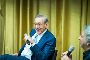 Nov. 2, 2016 -- Stephen Ross, chairman of Related Companies, speaks about the Hudson Yards development project at Piper Auditorium, Gund Hall, 48 Quincy Street, Cambridge, on Wednesday, November 2, 2016. The renewal of the Hudson Yards district, a project jointly planned, funded, and constructed by the New York City and State governments and the Metropolitan Transportation Authority, concerns a section of Manhattan between Penn Station and the Hudson River.