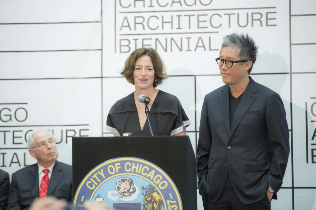 Sharon Johnston and Mark Lee speak at the March 6 announcement of the 2017 Chicago Architecture Biennial. Photo by Zachary Johnson, courtesy of the Chicago Architecture Biennial