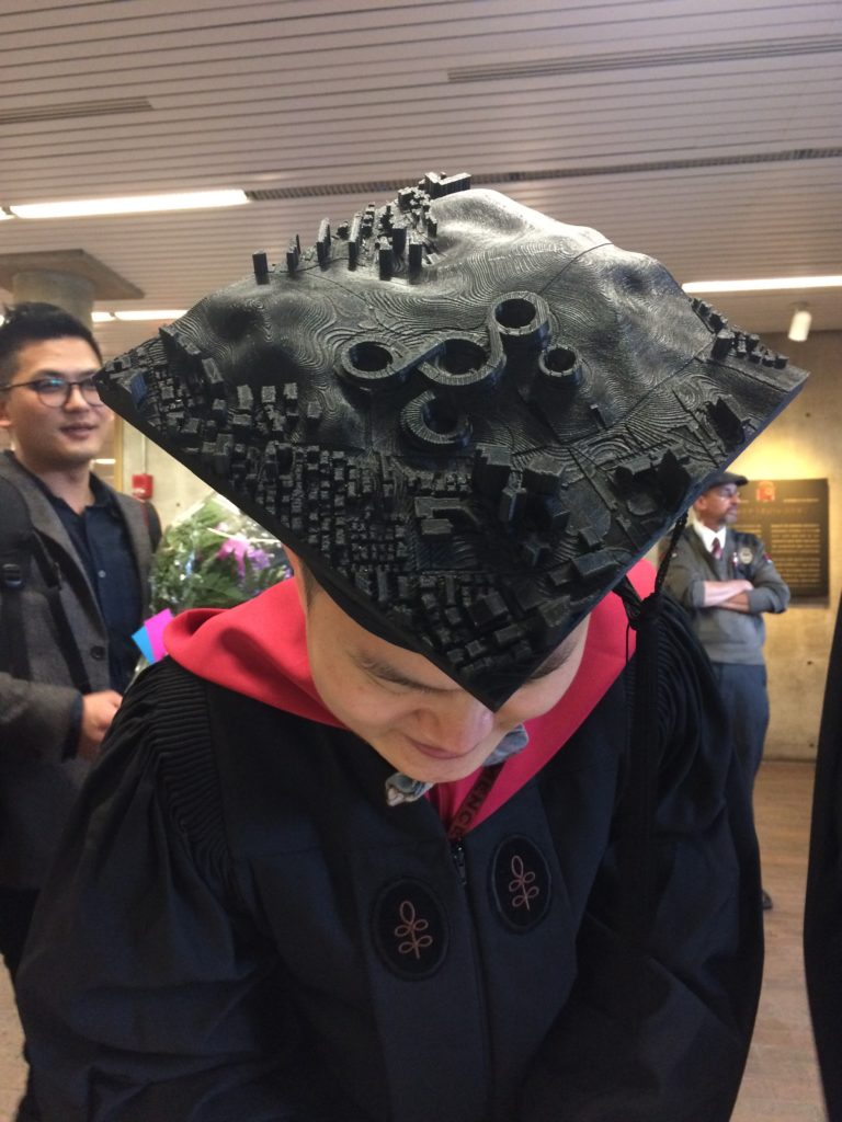 Insu Kim (MArch '17) wore his thesis on his Commencement cap