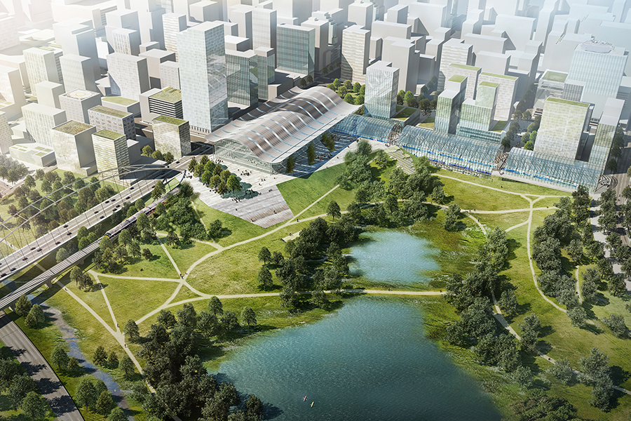 Lawrence A. Chan FAIA MAUD'77 - New City Master Plan, Negeri Sembilan, Malaysia | Integrated Transportation Terminal between Downtown & Riverway