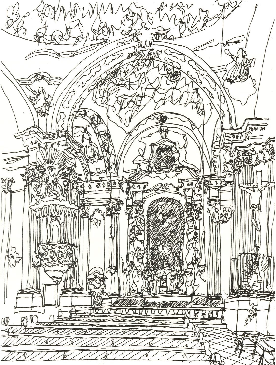 Damenstiftskirche (Gunetzrhainer) St. Anna, Interior Munich, Germany 1979 Pen & Ink 35.8 X 28 cm
