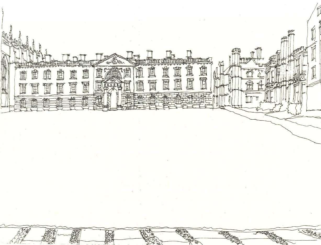 Fellows' Building (Gibbs) King's College Cambridge United Kingdom 1973 Pen & Ink 17.6 x 24.2 cm