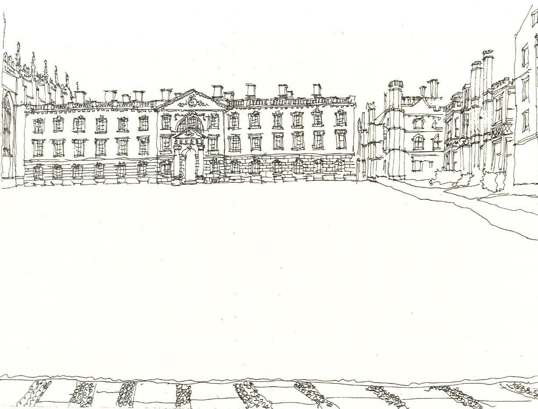 Fellows' Building (Gibbs) King's College Cambridge United Kingdom 1973 Pen & Ink 17.6 x 24.2 cm