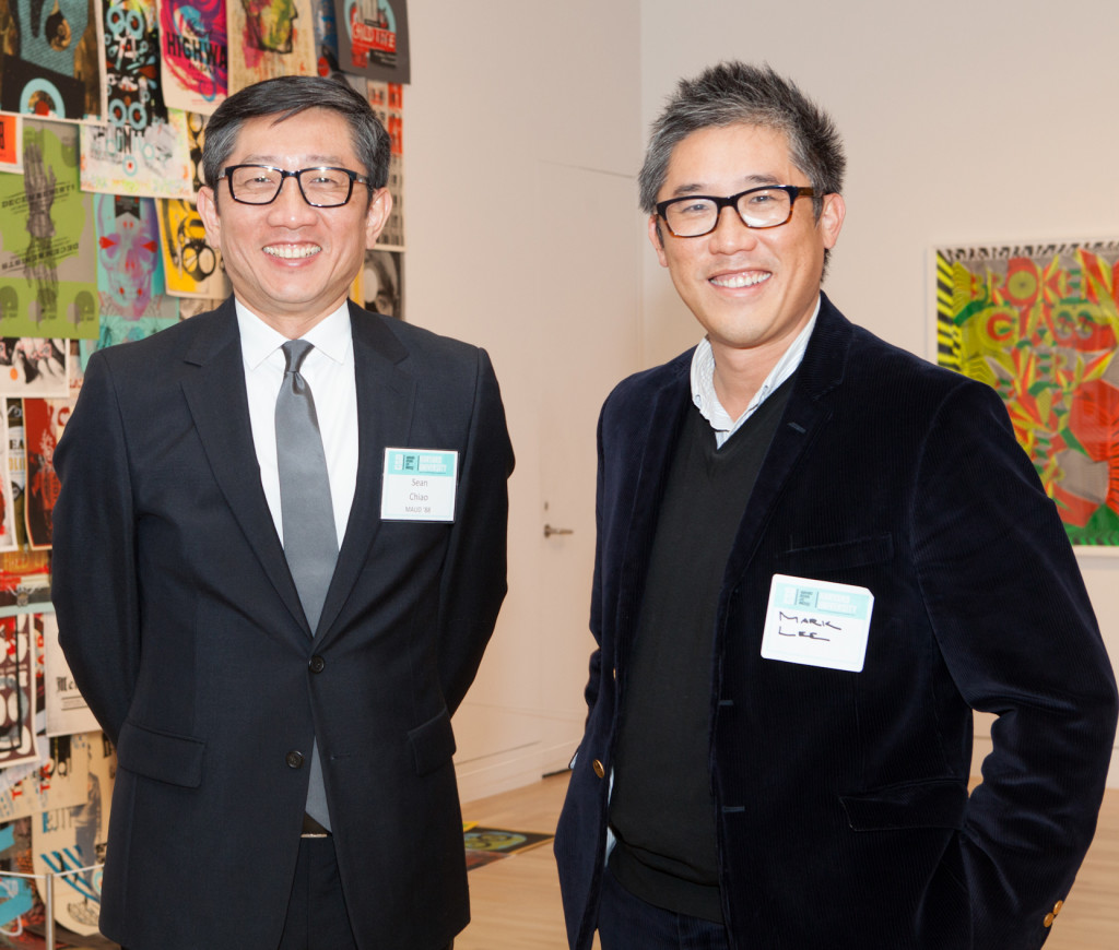 Mark Lee MArch '95 (right) with Sean Chiao MAUD '88 at the GSD's LA Design Weekend in 2012.